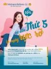 Thứ 5 rực rỡ - Vietnam Airlines ưu đãi 50% giá vé nội địa